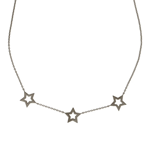 Black Rhodium Star Trio Necklace
