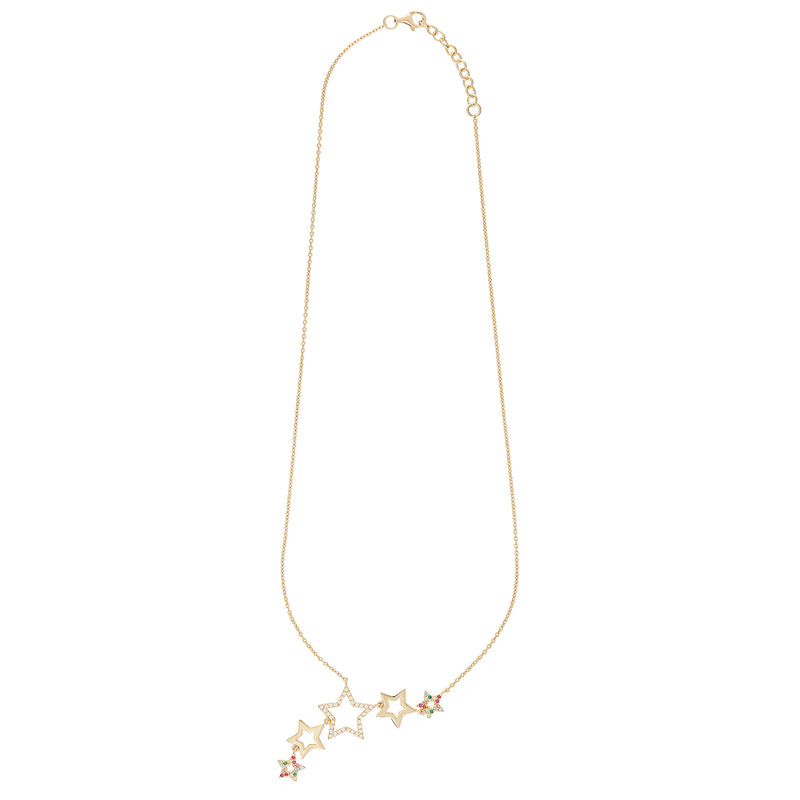 Gold Rainbow Star Cluster Necklace