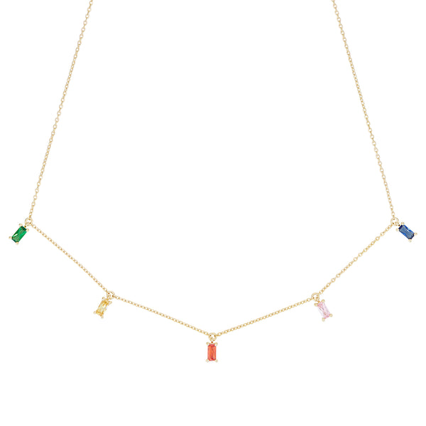 Gold Rainbow Emerald Cut Necklace