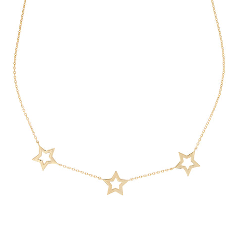 Gold Star Trio Necklace