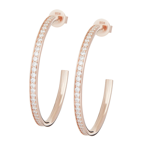 Rose Gold Large Embellished Hoops