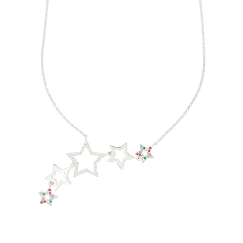 Silver Rainbow Star Cluster Necklace