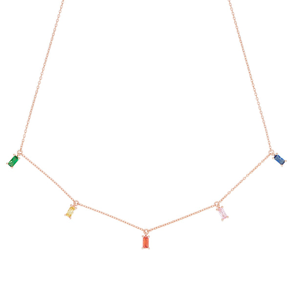 Rose Gold Rainbow Emerald Cut Necklace