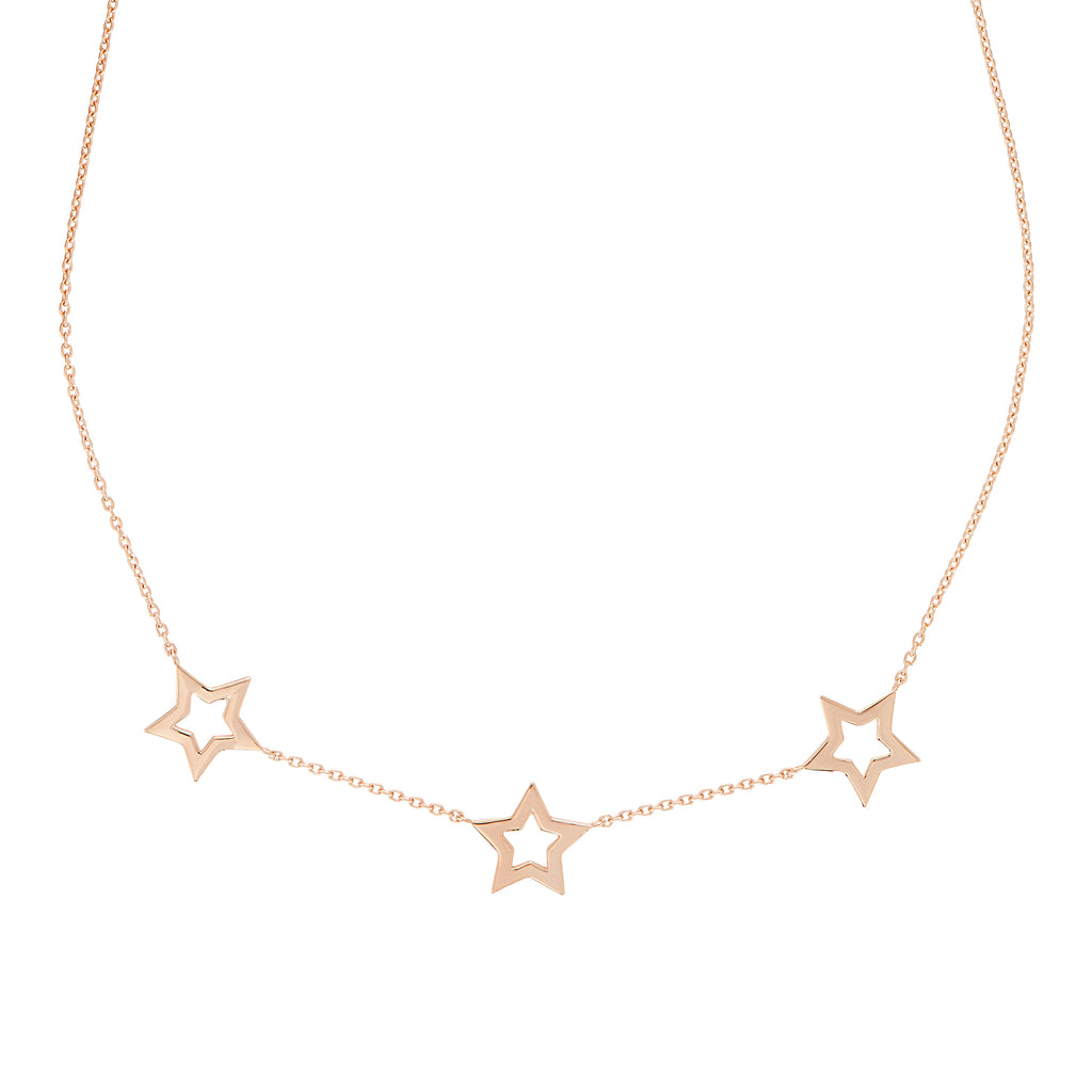 Rose Gold Star Trio Necklace