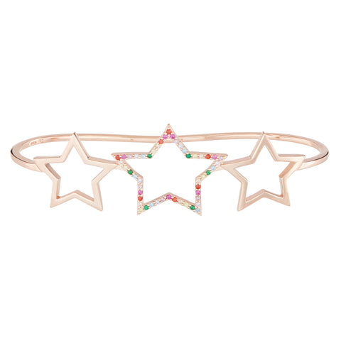 Rose Gold Rainbow Star Hand Cuff
