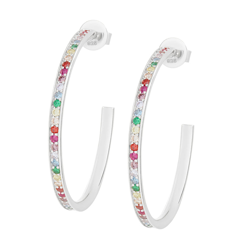 Silver Large Rainbow Embellished Hoops