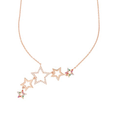 Rose Gold Rainbow Star Cluster Necklace