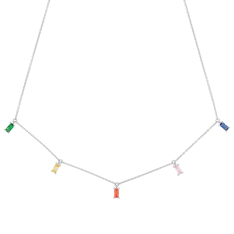 Silver Rainbow Emerald Cut Necklace