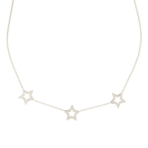 Silver Star Trio Necklace