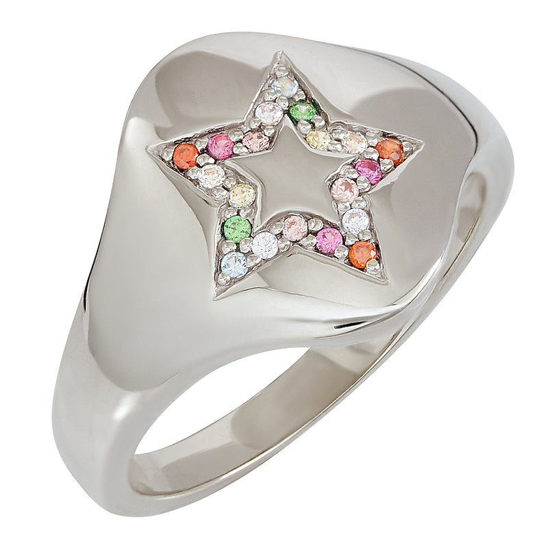Black Rhodium Star Rainbow Signet Ring