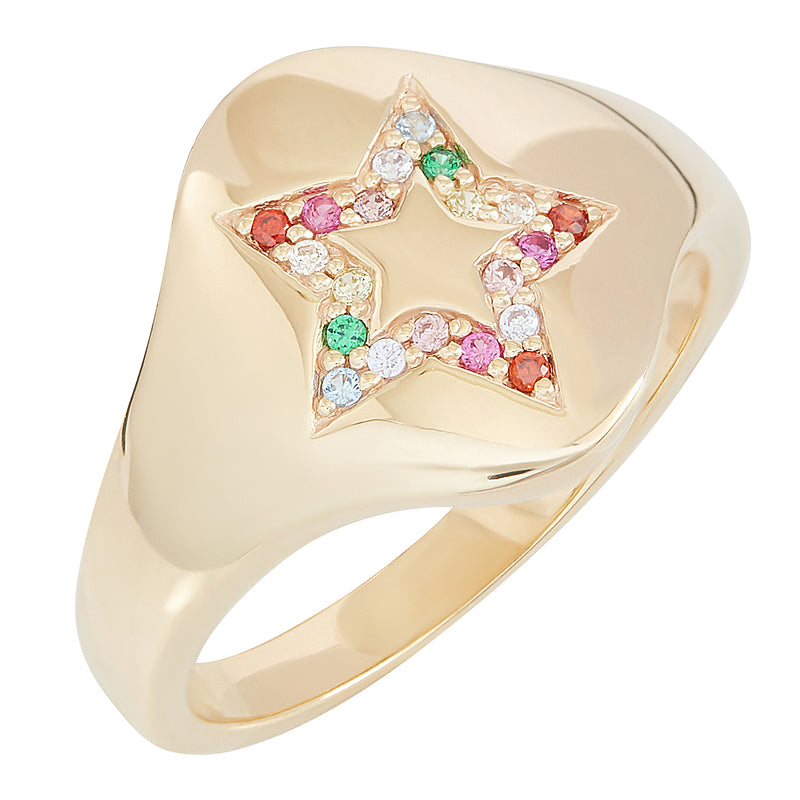 Gold Star Rainbow Signet Ring