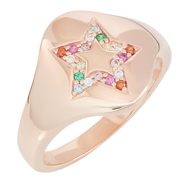 Rose Gold Star Rainbow Signet Ring