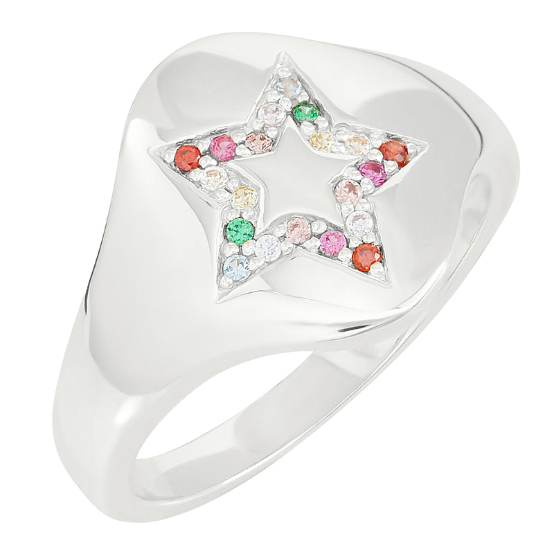 Silver Star Rainbow Signet Ring