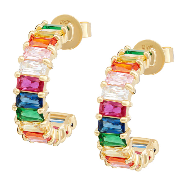 Gold Rainbow Emerald Cut Hoops