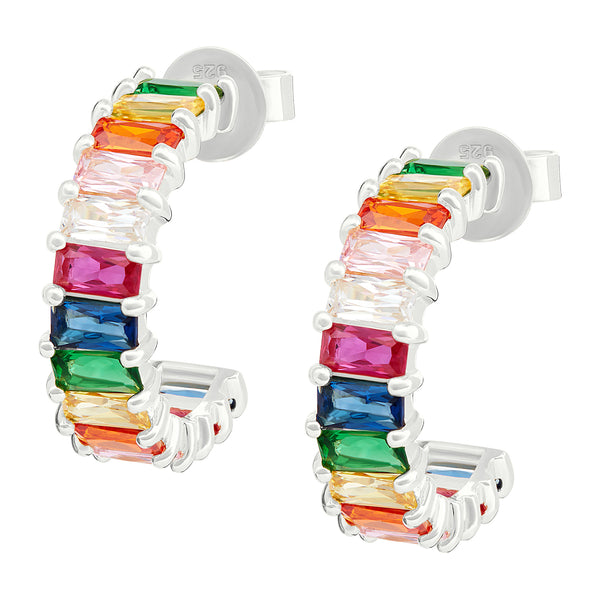 Silver Rainbow Emerald Cut Hoops