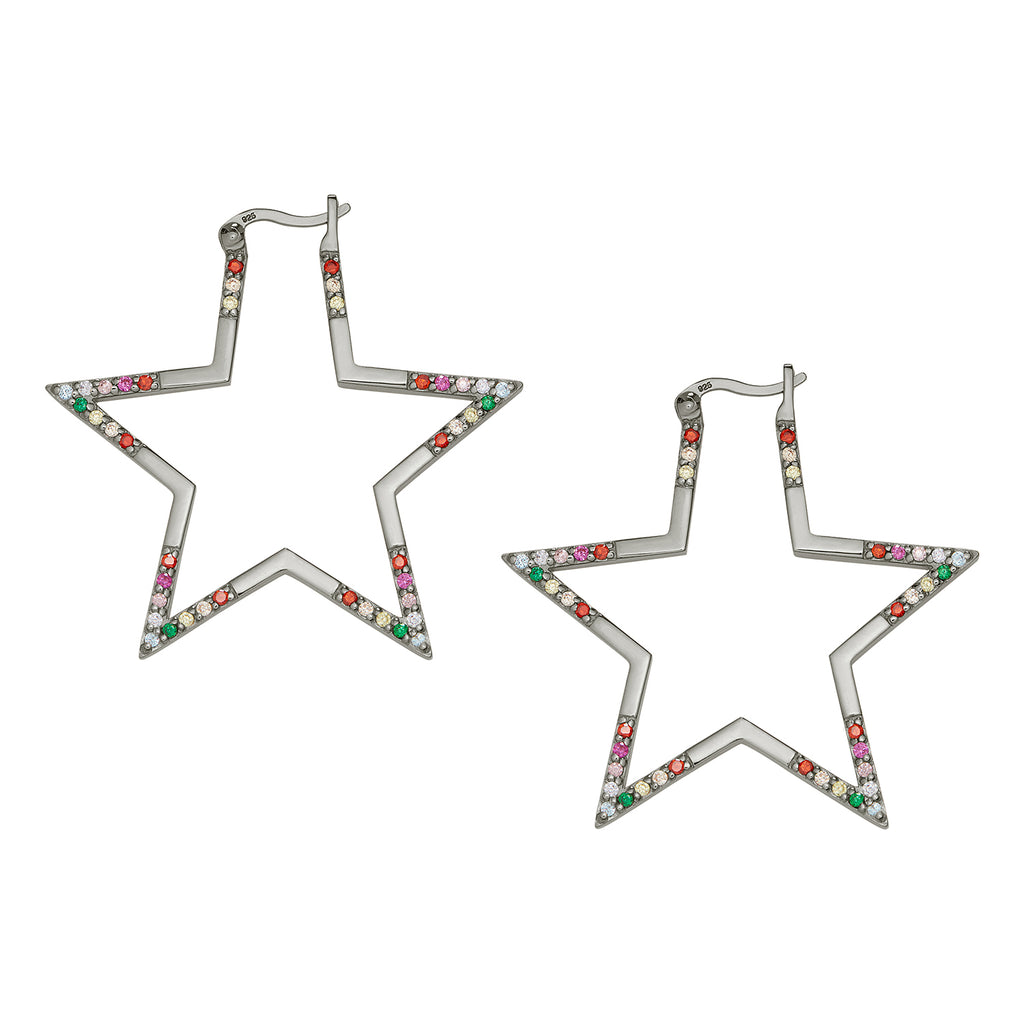 Black Rhodium Rainbow Large Star Hoops