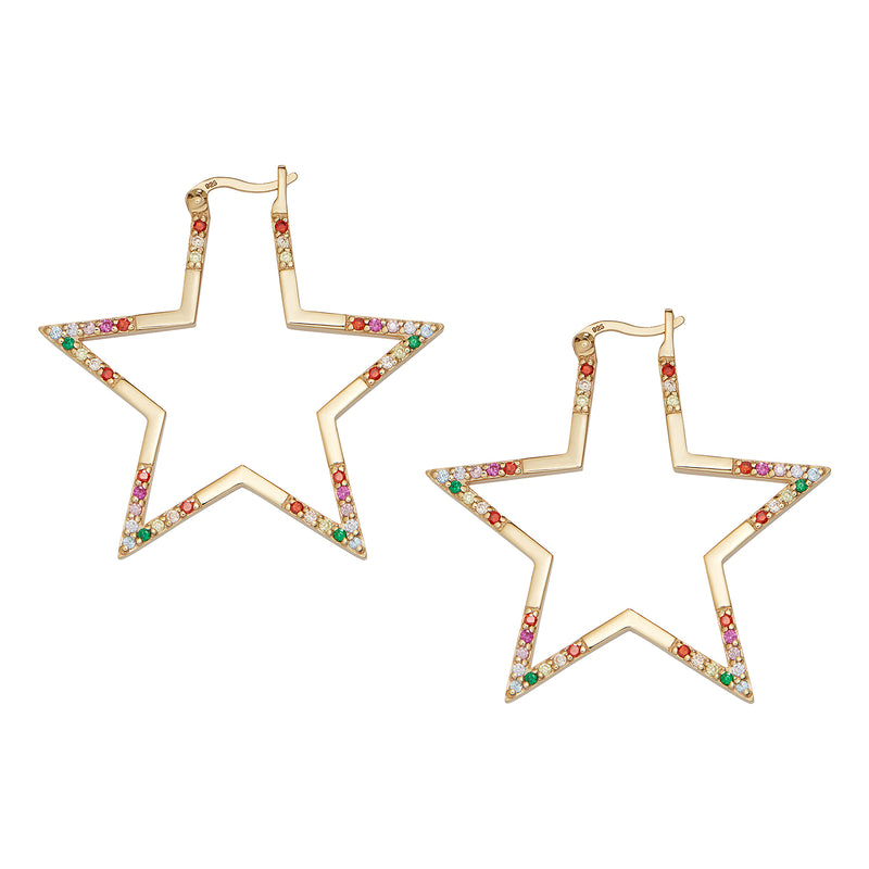 Gold Rainbow Large Star Hoops