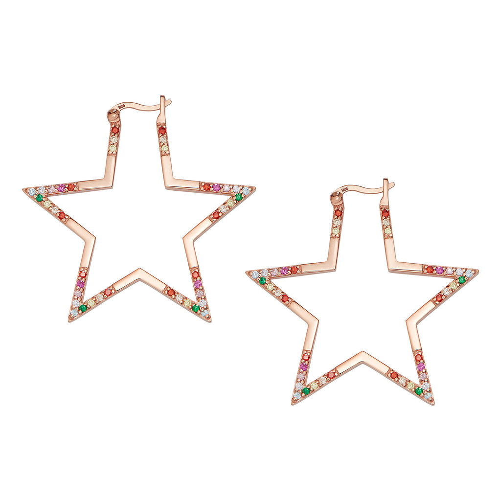 Rose Gold Rainbow Large Star Hoops
