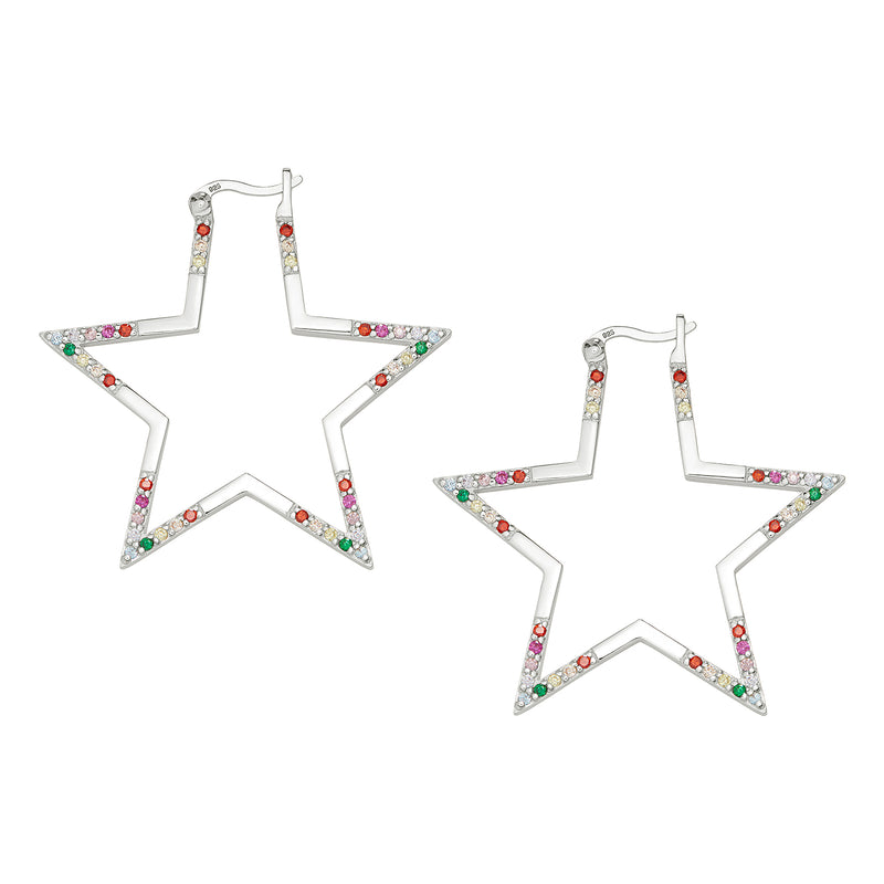 Silver Rainbow Large Star Hoops