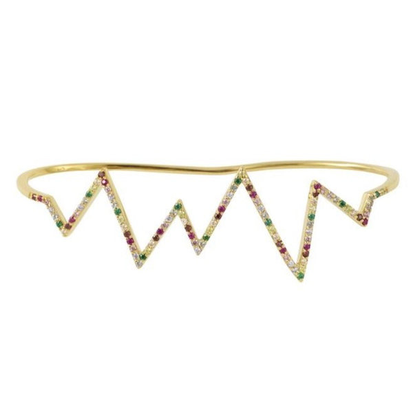 Gold Heartbeat Hand Cuff with Rainbow Stones