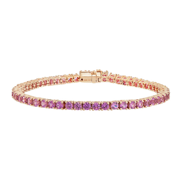 Rose Gold Tennis Bracelet with Pink Stones