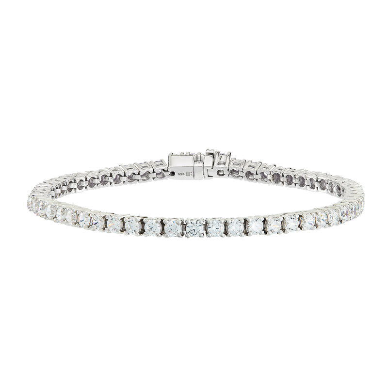 Silver Tennis Bracelet with White Stones