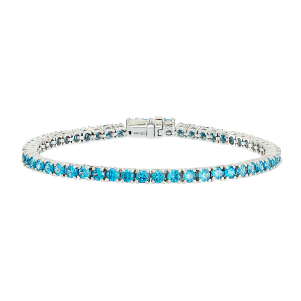 Silver Tennis Bracelet with Turquoise Stones