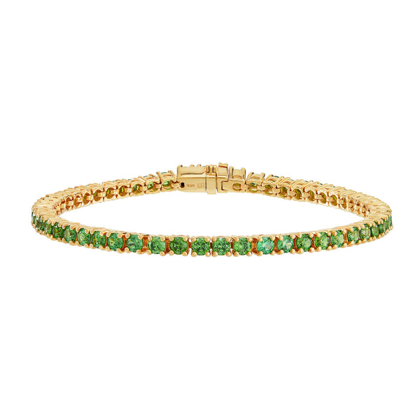 Gold Tennis Bracelet with Green Stones