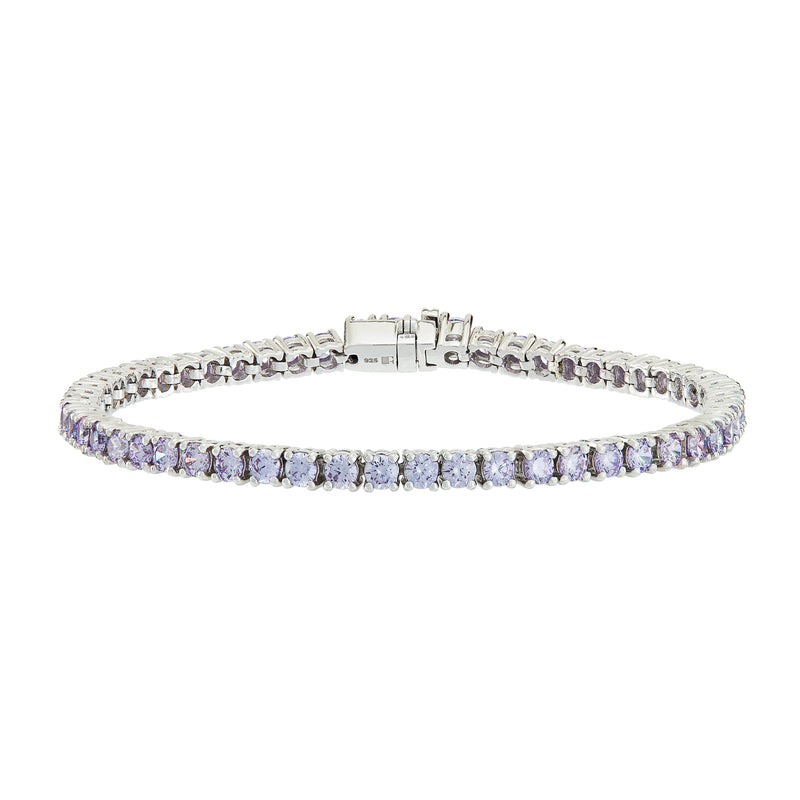Silver Tennis Bracelet with Lilac Stones