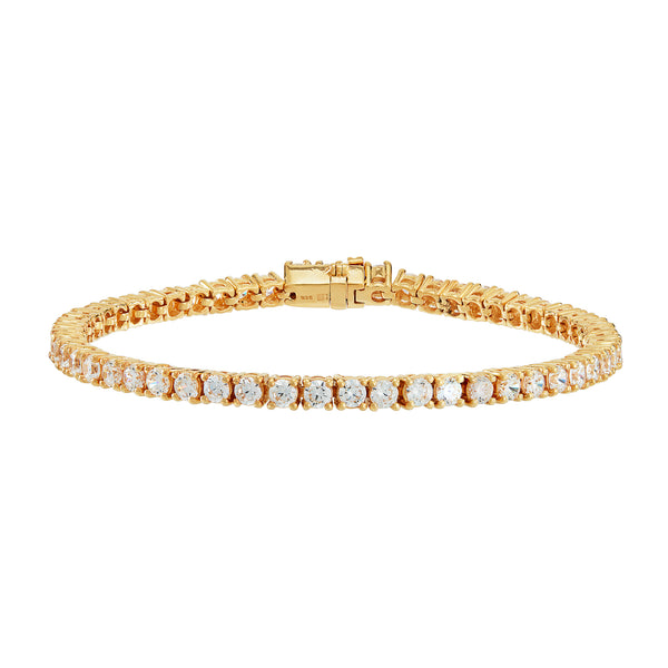 Gold Tennis Bracelet with White Stones