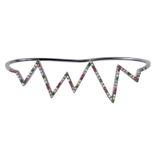 Black Rhodium Heartbeat Hand Cuff with Rainbow Stones