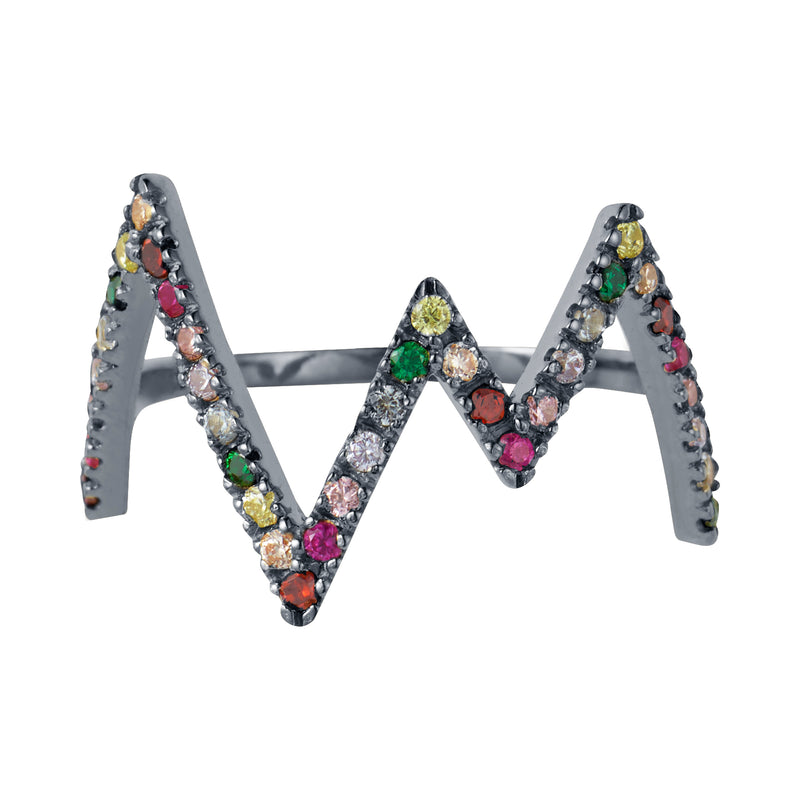 Black Rhodium Rainbow Heartbeat Ring