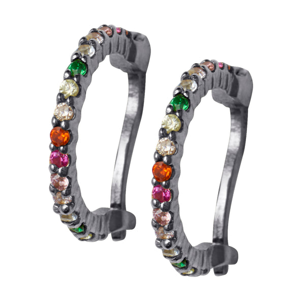 Black Rhodium Rainbow Huggy Hoops