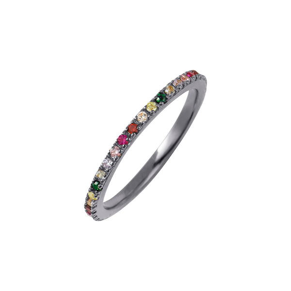 Black Rhodium Rainbow Stacking Ring