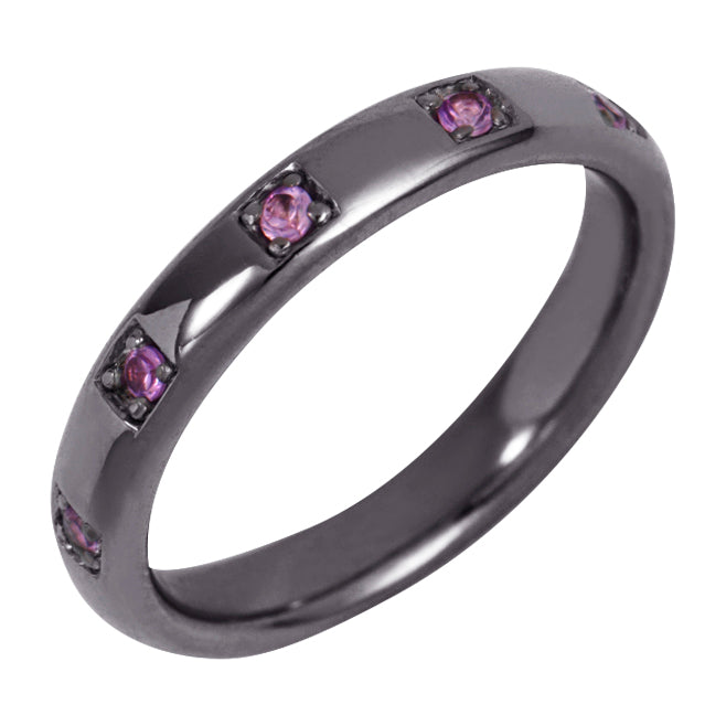 Black Rhodium Single Band Ring with Pink Stones