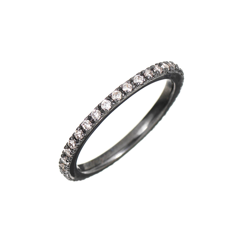 Black Rhodium Stacking Ring with Champagne Stones