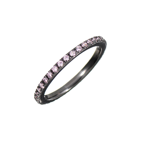 Black Rhodium Stacking Ring with Lilac Stones