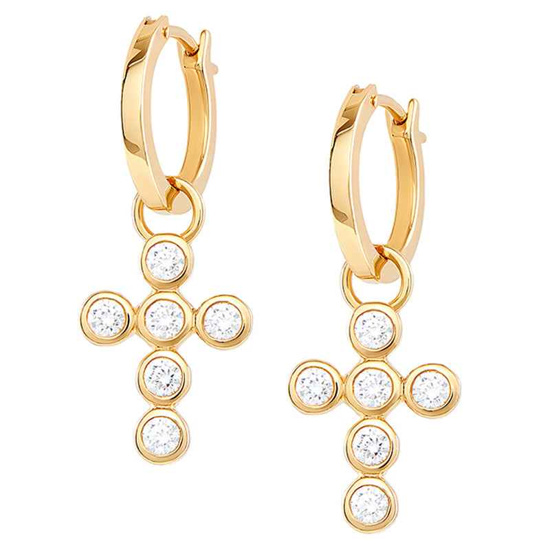 Cross Charm Hoops