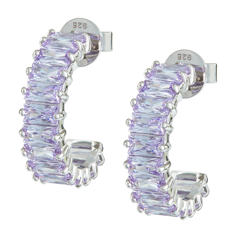 Silver Emerald Cut Hoops with Lilac Stones