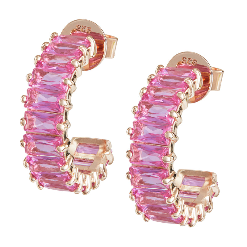 Rose Gold Emerald Cut Hoops with Pink Stones