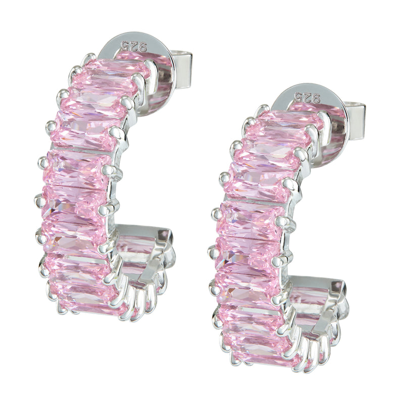 Silver Emerald Cut Hoops with Light Pink Stones