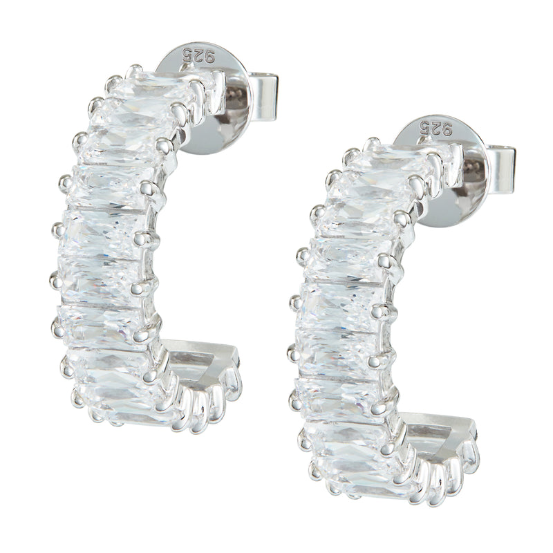 Silver Emerald Cut Hoops with White Stones
