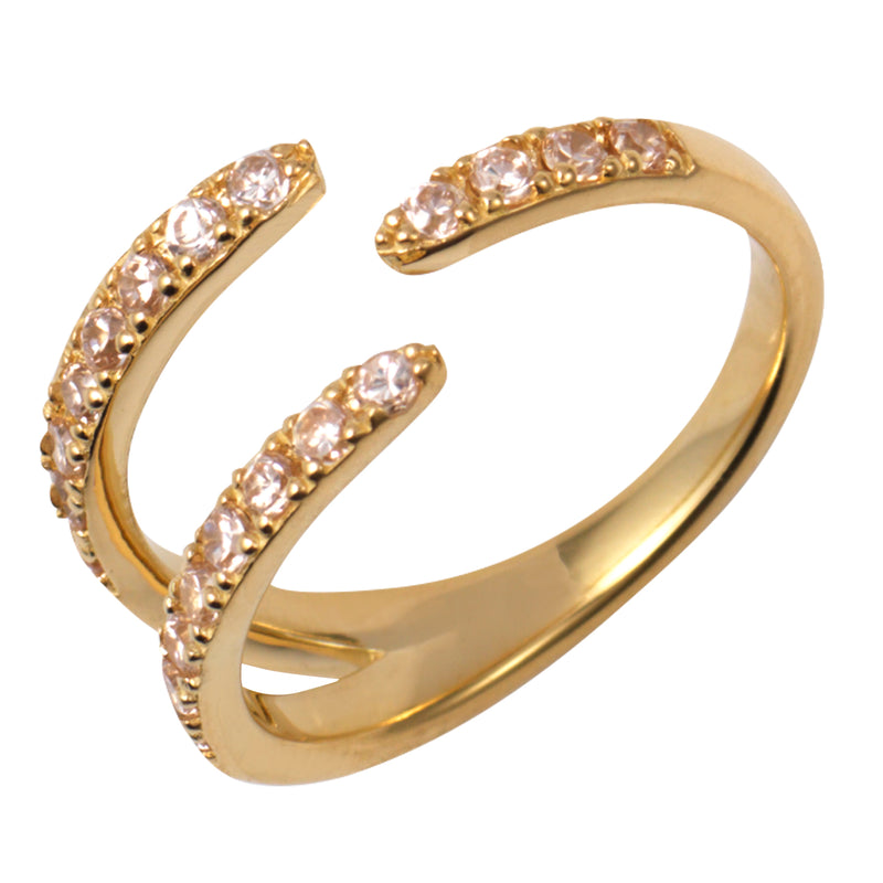 Gold Claw Ring with Champagne Stones