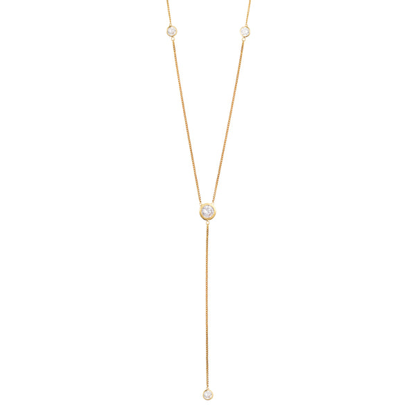 Gold Deep V Necklace with White Stones