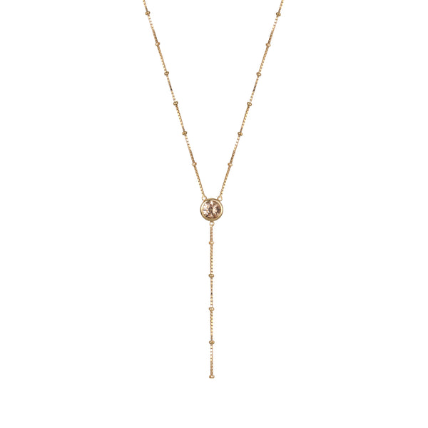 Gold Dot Chain Necklace with Champagne Stones