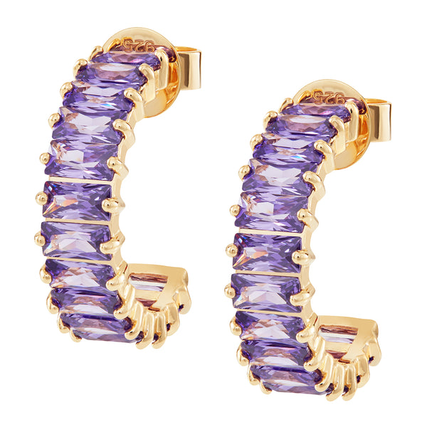 Gold Emerald Cut Hoops with Purple Stones