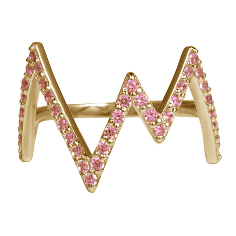 Gold Heartbeat Ring with Rhodolite Stones