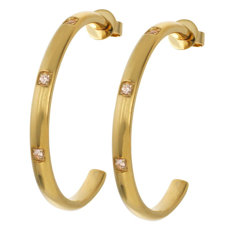 Gold Large Hoops with Champagne Stones