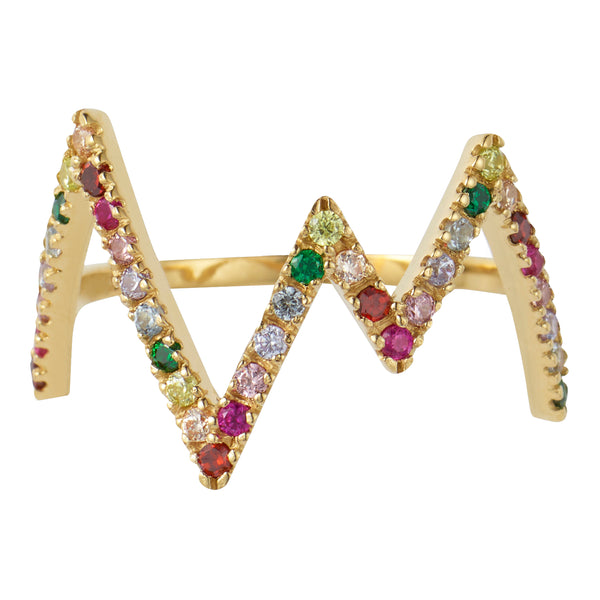Gold Rainbow Heartbeat Ring