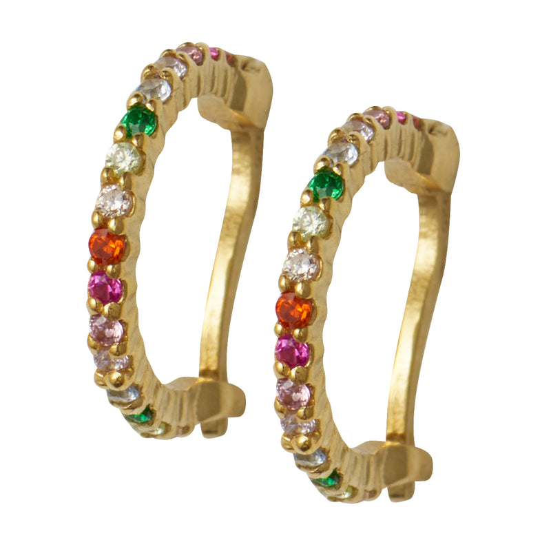 Gold Rainbow Huggy Hoops